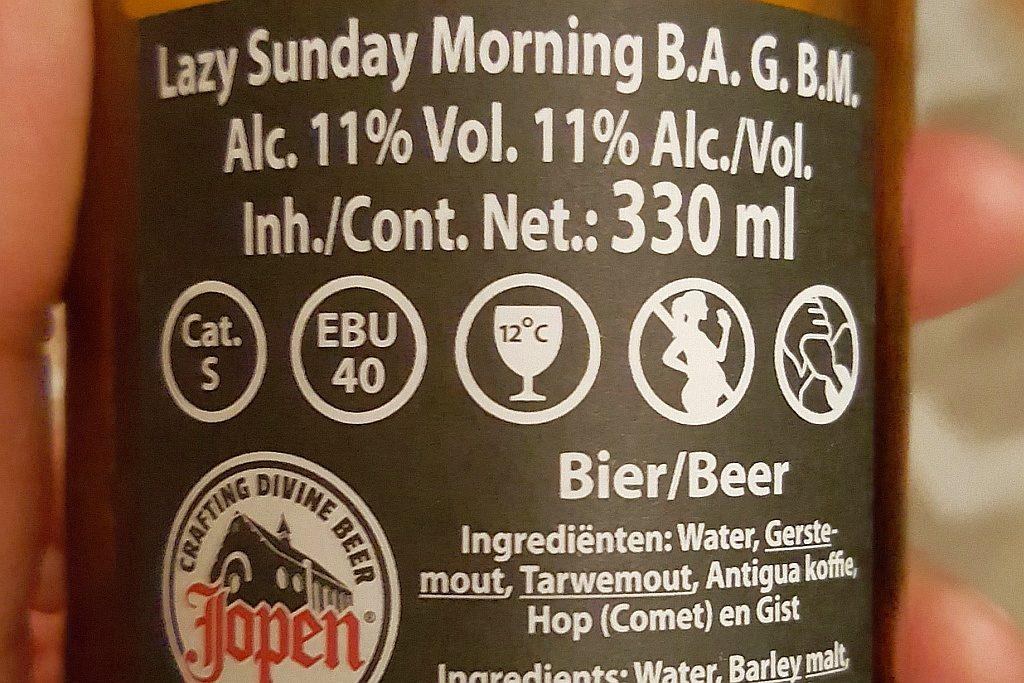 Etikett Lazy Sunday Rückseite