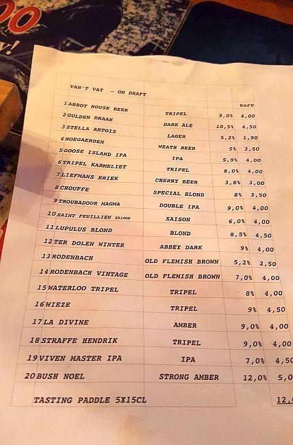 Bierkarte im Le Trappiste